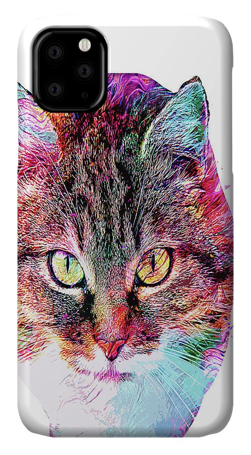Cat IPhone Case featuring the digital art Abstract Charismatic Cat by Trindira A