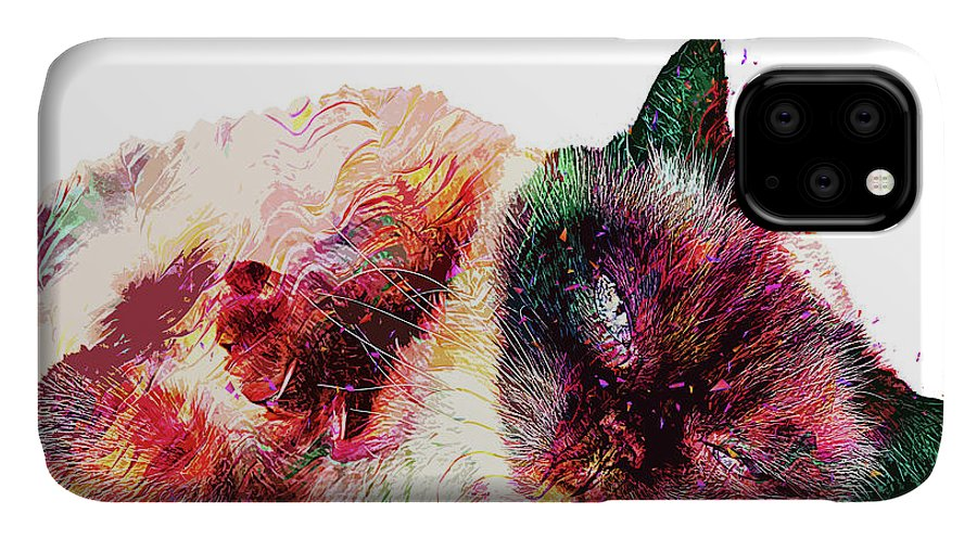 Cat IPhone Case featuring the digital art Abstract Lazy Cat by Trindira A