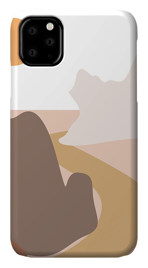 Mountains IPhone Case featuring the mixed media Abstract Mountains 04 - Modern, Minimal, Contemporary Abstract - Terracotta Brown - Landscape by Studio Grafiikka