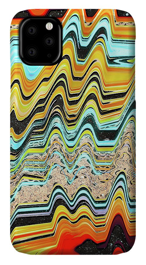 Abstract IPhone Case featuring the digital art After the Golden Sunset by Jack Entropy