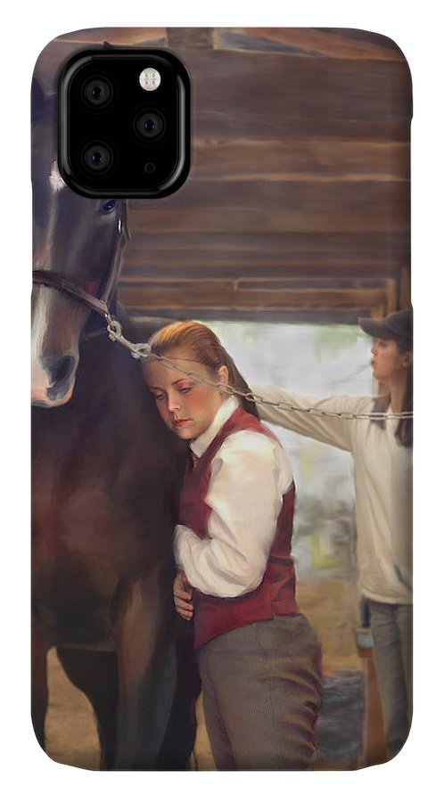 Horse IPhone Case featuring the painting Aisle Hug Horse Show Barn Candid Moment by Connie Moses
