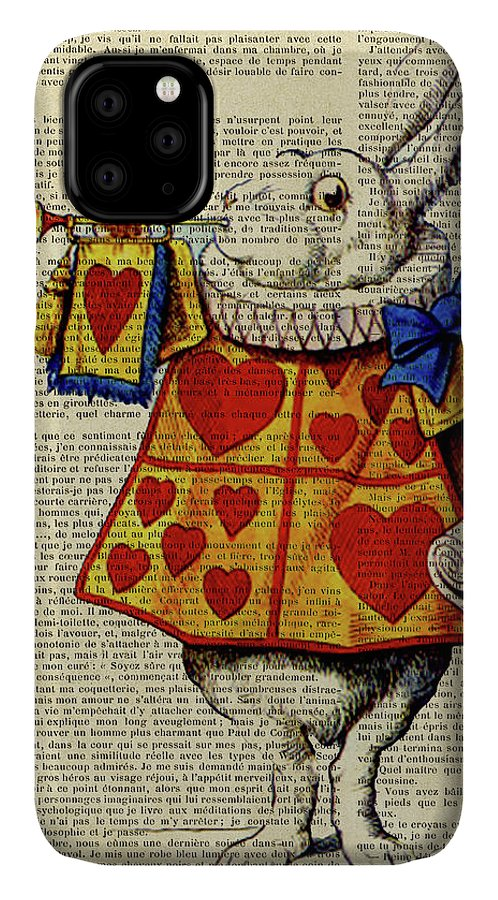 Alice In Wonderland IPhone Case featuring the digital art Alice In Wonderland, Characters, Alice, Wonderland, Cheshire Cat, Queen Of Hearts, Mad Hatter, White by Trindira A