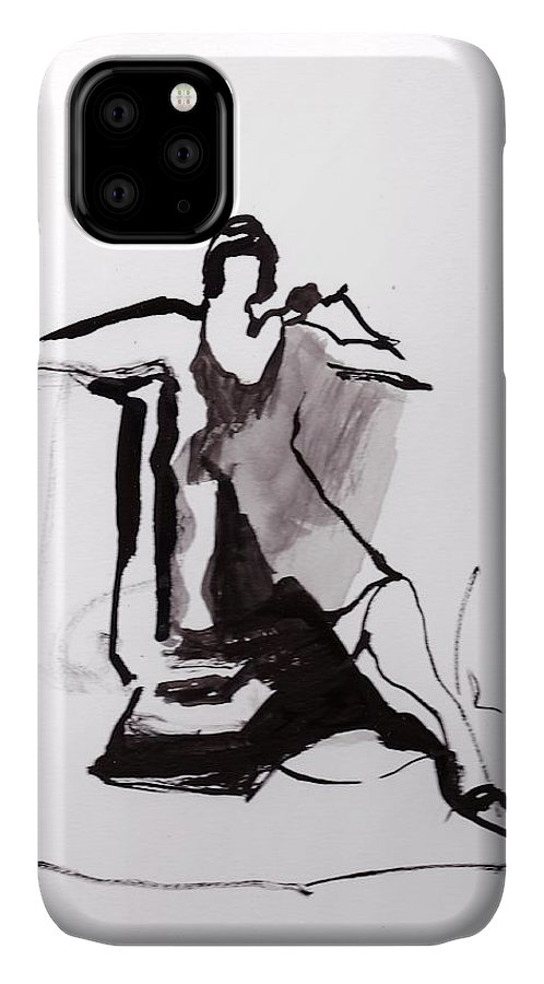 Ink IPhone 11 Case featuring the drawing Ann posing with a light by Jodee Clifford