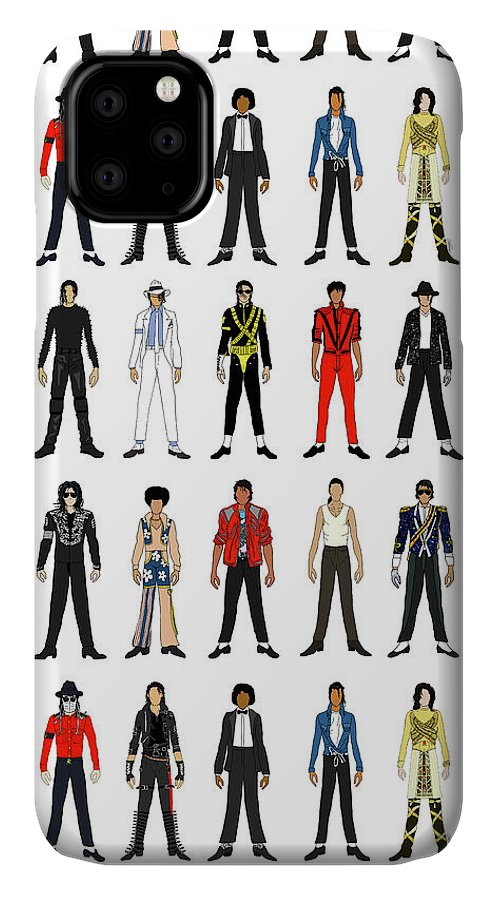 Michael Jackson IPhone Case featuring the digital art Outfits of Michael Jackson by Notsniw Art