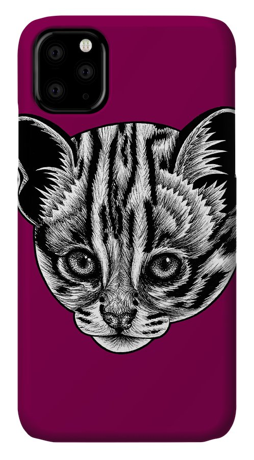 Leopard IPhone Case featuring the drawing Asian leopard cat kitten - ink illustration by Loren Dowding