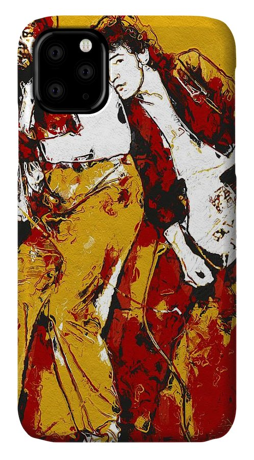 Bruce Springsteen IPhone Case featuring the digital art Bruce Springsteen And Clarence Clemons - Yellow by Unexpected Object
