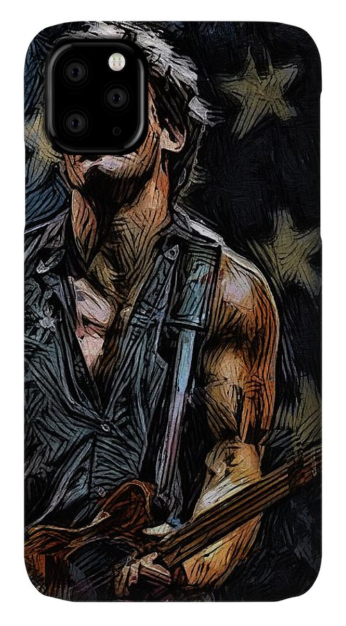Bruce Springsteen - Playing Guitar IPhone Case featuring the digital art Bruce Springsteen - playing guitar 2 by Unexpected Object