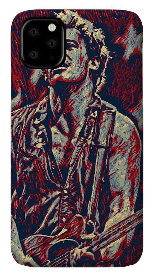 Bruce Springsteen IPhone Case featuring the digital art Bruce Springsteen - playing guitar Red by Unexpected Object