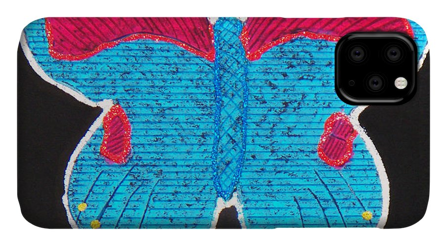 Drawing IPhone Case featuring the mixed media Butterfly by Sergey Bezhinets