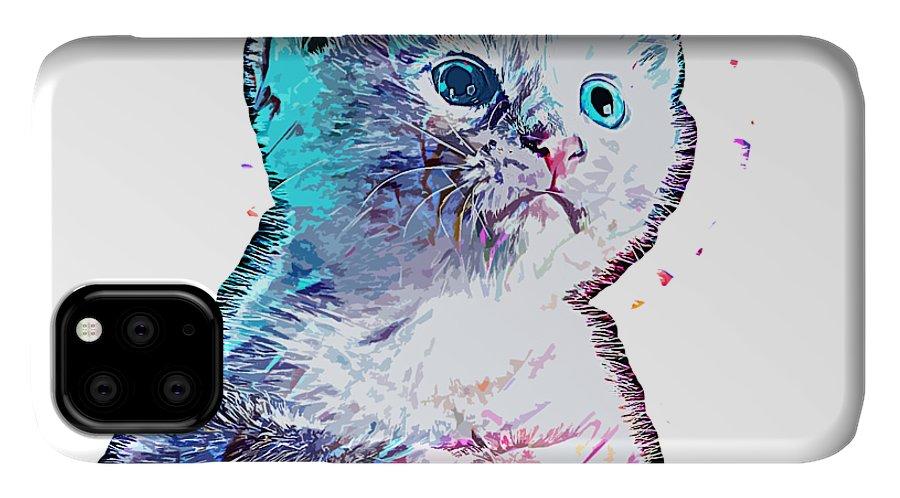 Cat IPhone Case featuring the digital art Cat Baby by Trindira A