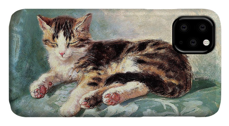 Cat Nap IPhone Case featuring the painting Cat nap - Digital Remastered Edition by Henriette Ronner-Knip