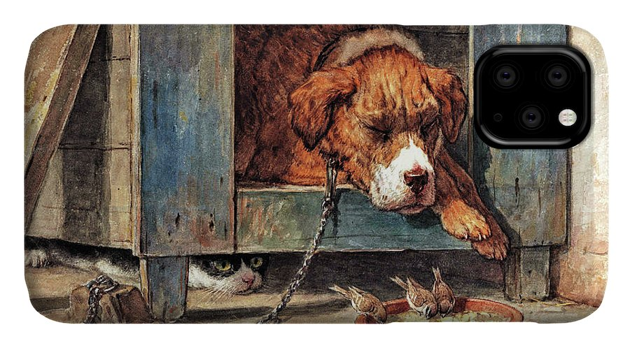 Cat Watches Birds With A Sleeping Dog IPhone Case featuring the painting Cat watches birds with a sleeping dog - Digital Remastered Edition by Henriette Ronner-Knip