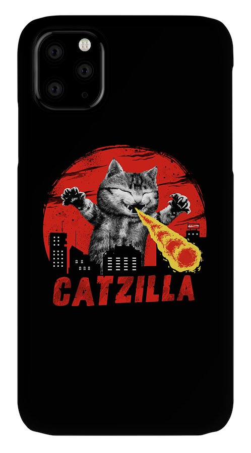 Cat IPhone Case featuring the digital art Catzilla by Vincent Trinidad