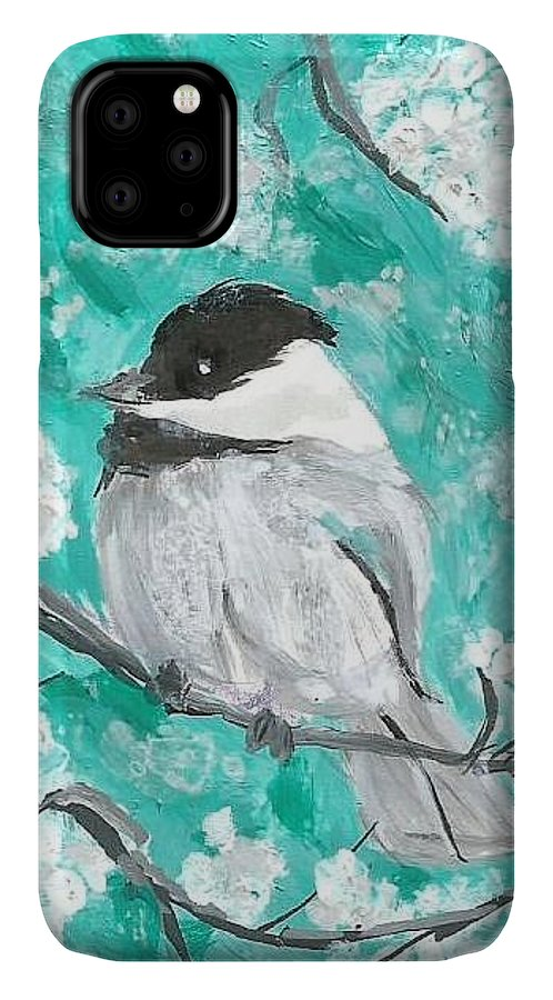 Chickadee Painting IPhone Case featuring the painting Chickadee by Monica Resinger