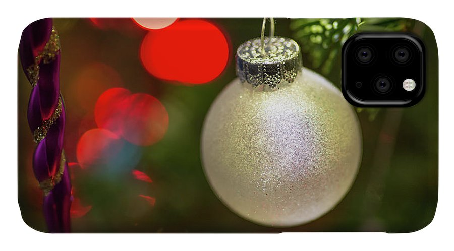 Ball IPhone Case featuring the photograph Christmas Ornaments With Bokeh Background by Ognian Setchanov