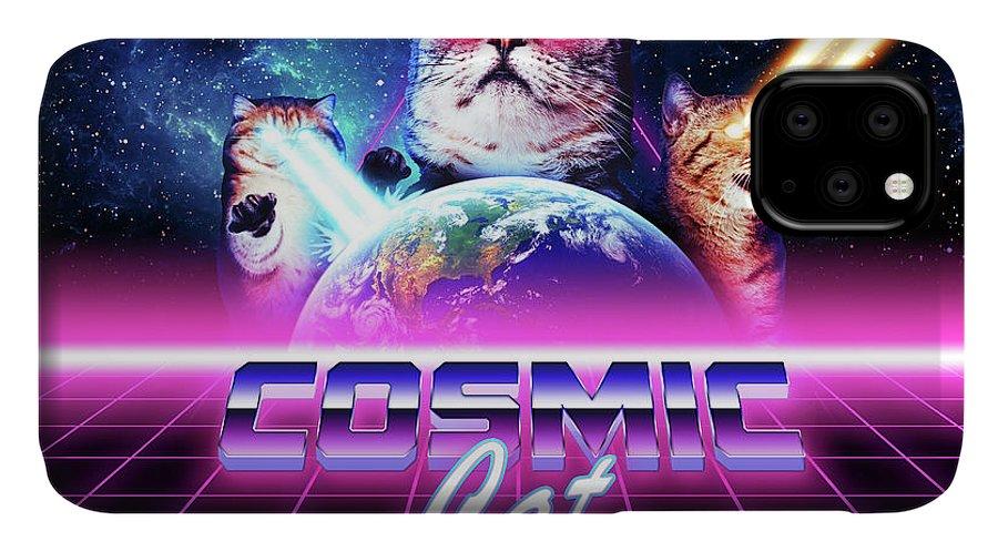 Cat IPhone Case featuring the digital art Cosmic cat by Alex Goljakov