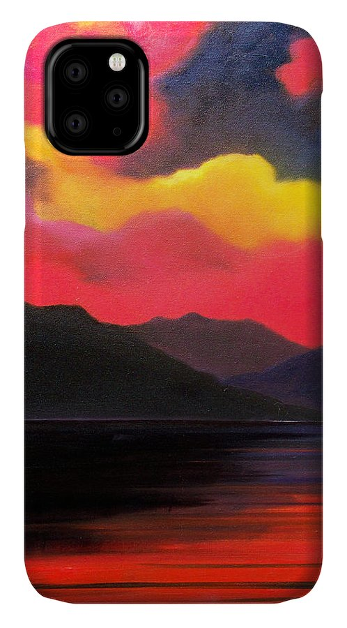 Surreal IPhone Case featuring the painting Crimson Clouds by Sergey Bezhinets