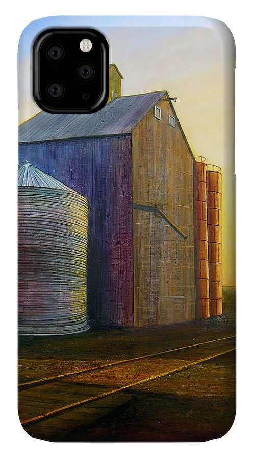 Silos IPhone Case featuring the painting Estes Road Twilight by Leonard Heid