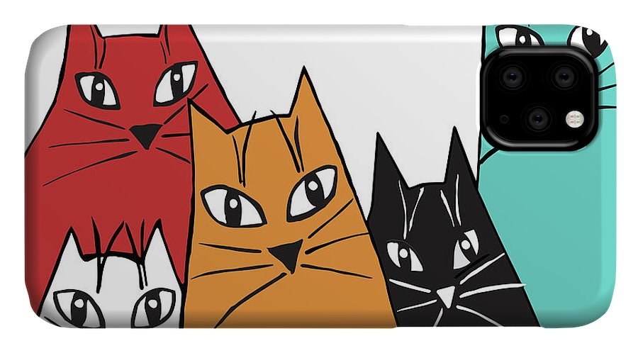 Cat IPhone Case featuring the digital art Five Fun Cats 2 by Genevieve Esson