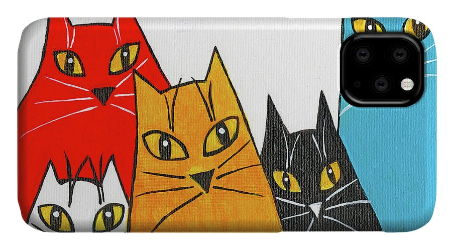 Cat IPhone Case featuring the painting Five Fun Cats by Genevieve Esson