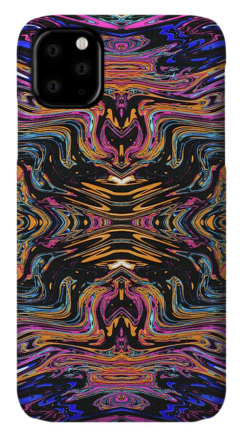Abstract IPhone Case featuring the digital art Flaming Flamingo by Jack Entropy
