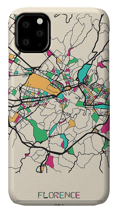 Florence IPhone Case featuring the drawing Florence, Italy City Map by Inspirowl Design