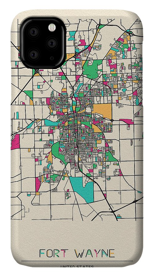 Fort Wayne IPhone Case featuring the drawing Fort Wayne, Indiana City Map by Inspirowl Design