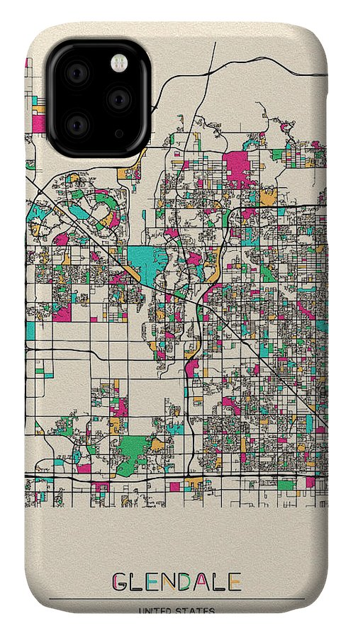 Glendale IPhone Case featuring the drawing Glendale, Arizona City Map by Inspirowl Design