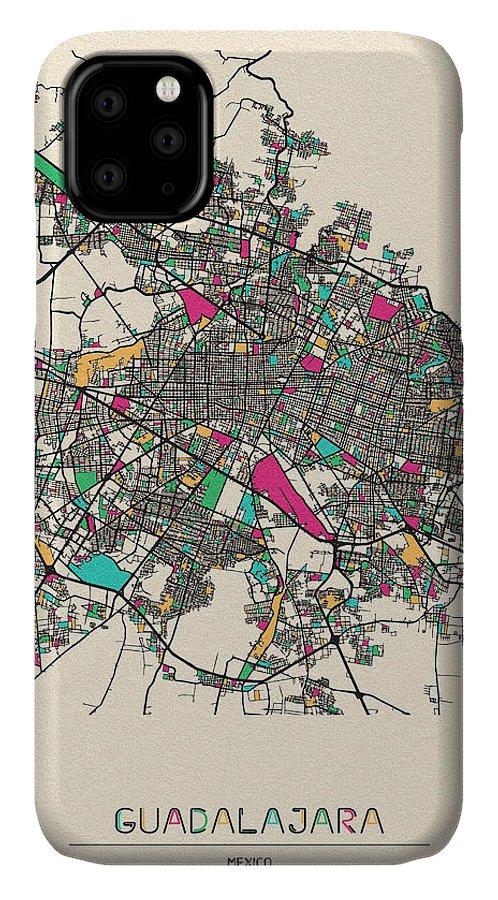 Guadalajara IPhone Case featuring the drawing Guadalajara, Mexico City Map by Inspirowl Design