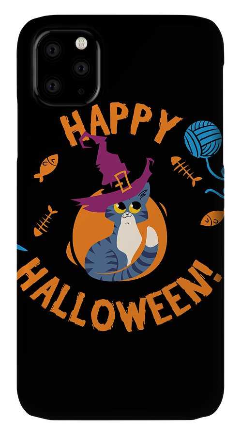 Halloween IPhone Case featuring the digital art Happy Halloween Funny Witch Kitty by Passion Loft