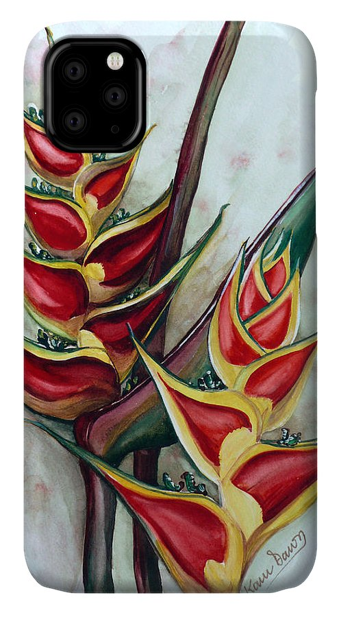 Caribbean Painting Flower Painting Floral Painting Heliconia Painting Original Watercolor Painting Of Heliconia Bloom  Trinidad And Tobago Painting Botanical Painting IPhone Case featuring the painting Heliconia Tropicana Trinidad by Karin Dawn Kelshall- Best