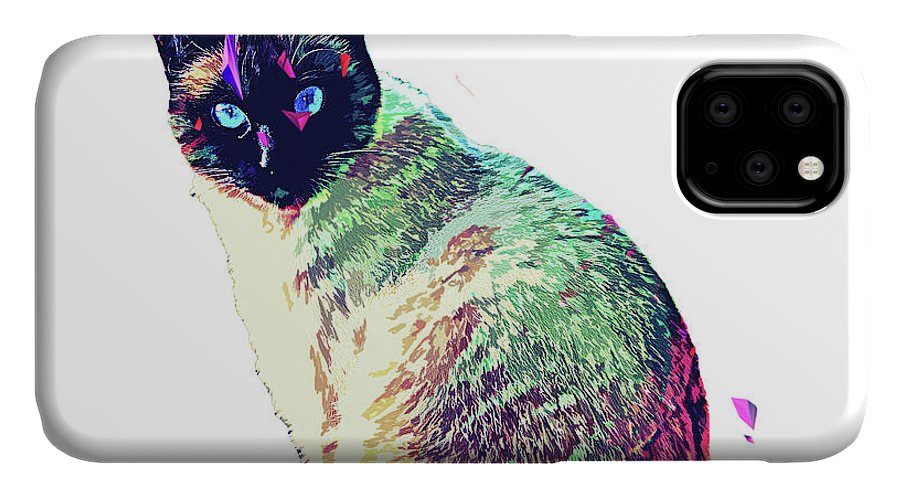 Cat IPhone Case featuring the digital art Himalayan Abstract Cat by Trindira A
