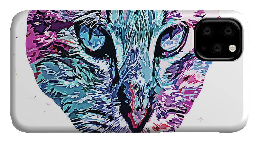 Fish IPhone Case featuring the digital art Iconic Abstract Cat Face  by Trindira A