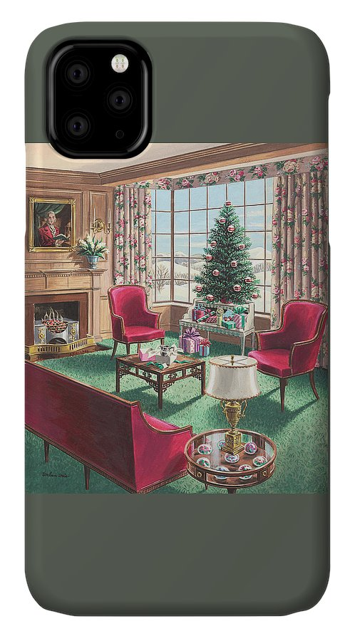 IPhone Case featuring the painting Illustration Of A Christmas Living Room Scene by Urban Weis