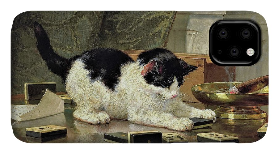 Kitten's Game IPhone Case featuring the painting Kitten's Game - Digital Remastered Edition by Henriette Ronner-Knip