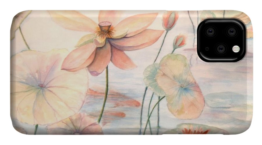Lily Pads And Lotus Blossoms IPhone Case featuring the painting Lily Pads by Ben Kiger