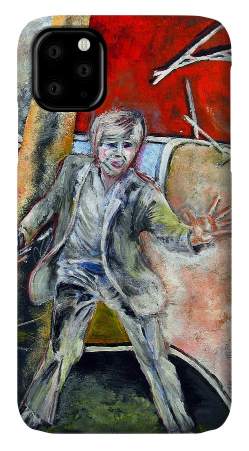 Male IPhone Case featuring the painting Mad World by Tom Conway