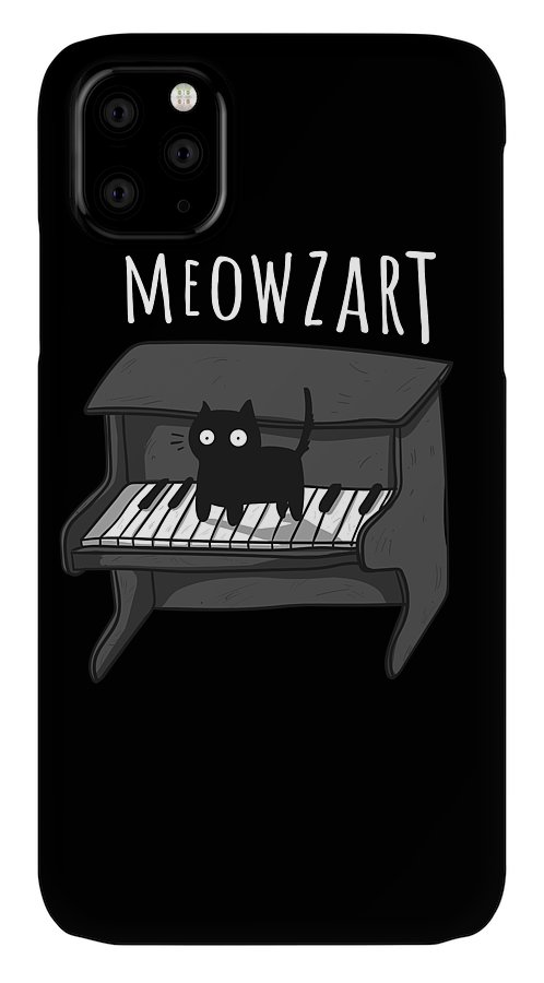 Kitten IPhone Case featuring the drawing Meowzart The Classical Music Cat Super Cool Kitty by Noirty Designs