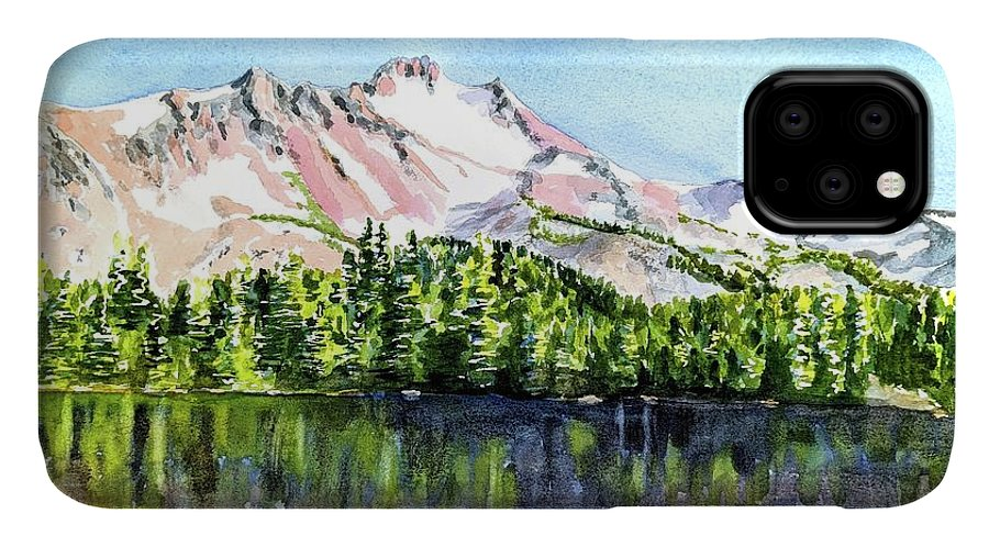 Oregon IPhone Case featuring the painting Mt. Jefferson Scout Lake Oregon by Carlin Blahnik CarlinArtWatercolor