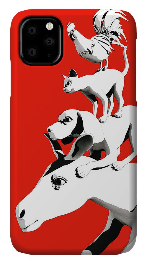 Donkey IPhone Case featuring the digital art Musicians of Bremen_red by Heike Remy