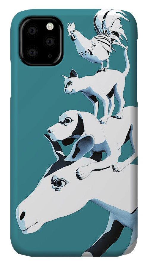 Donkey IPhone Case featuring the digital art Musicians of Bremen_teal by Heike Remy