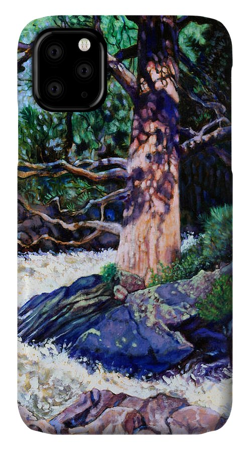 Old Pine IPhone Case featuring the painting Old Pine In Rushing Stream by John Lautermilch