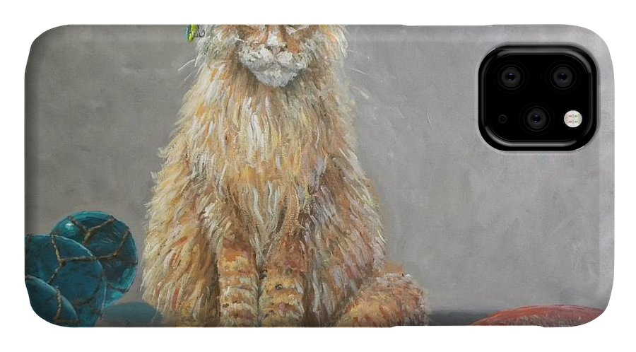 Cat IPhone Case featuring the painting 'old Salt' The Fisher Cat by Paul Emig
