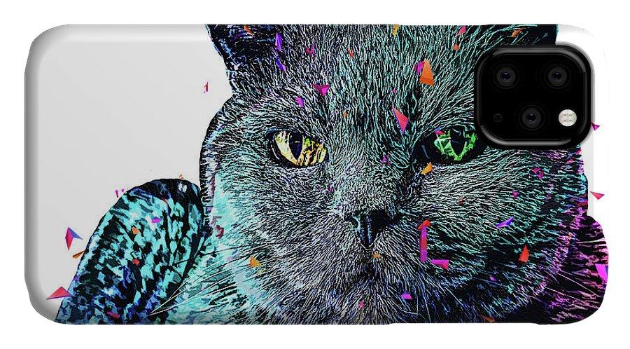 Cat IPhone Case featuring the digital art Olive Cat by Trindira A
