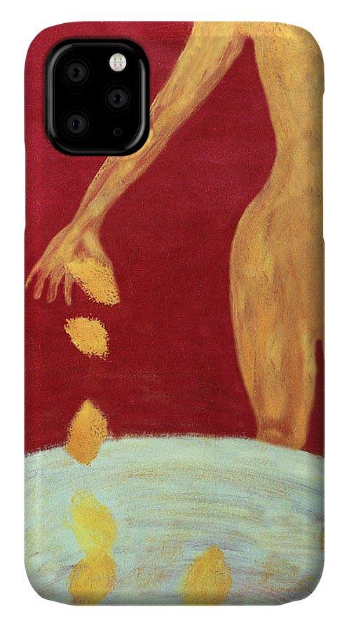 Figure IPhone Case featuring the painting Orange Lemons by Ingrid Torjesen
