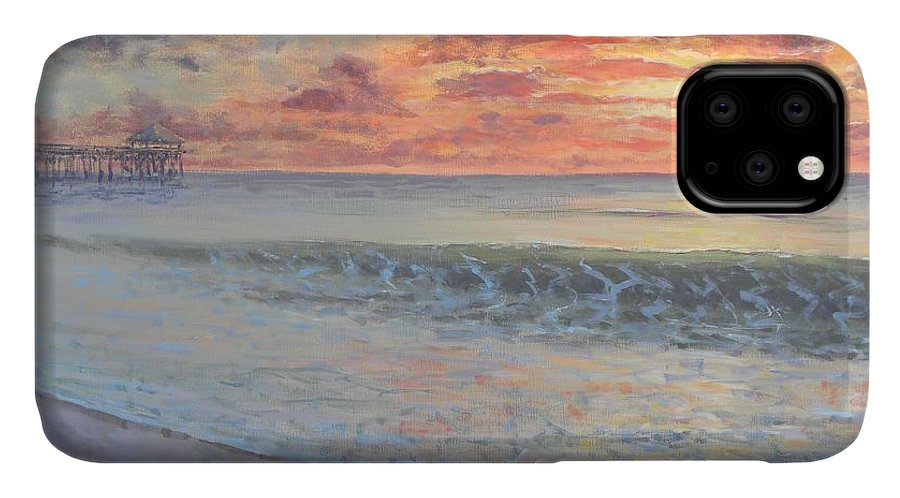 Pier IPhone Case featuring the painting Pier Sunrise by Paul Emig