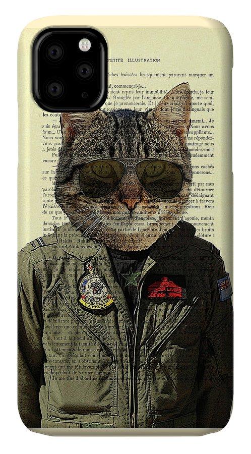 Cat IPhone Case featuring the digital art Pilot cat portrait on antique book page by Madame Memento