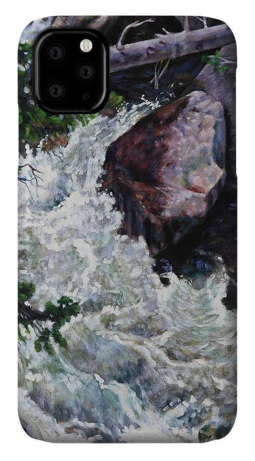 Waterfall IPhone Case featuring the painting Rushing Stream Colorado by John Lautermilch