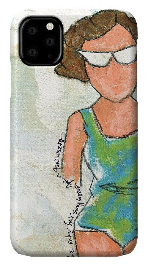 Beach IPhone Case featuring the painting She Only Had Sunglasses For A Few Weeks by Hew Wilson