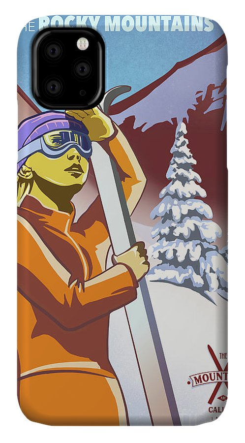 Retro Ski Poster IPhone Case featuring the painting Ski The Rocky Mountains by Sassan Filsoof
